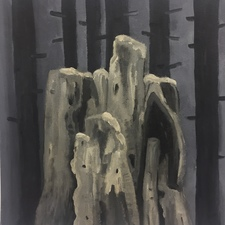 Marie Van Elder  Grisaille Stumps  acrylic, oils on canvas