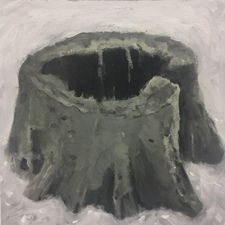 Marie Van Elder  Grisaille Stumps  acrylic, oil on canvas