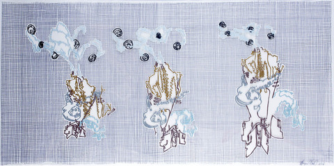 Marjorie Van Cura Hybrid Series - Works on Film permanent marker, oil and galkyd on polyester film