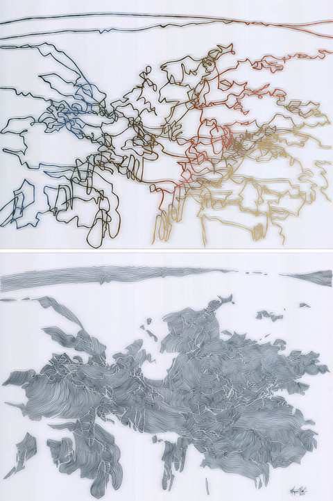 Mixed Media Paintings on Film permanent marker, oil and liquin on polyester film (diptych)