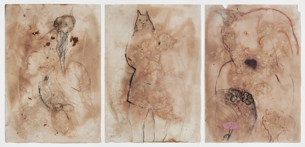 Marsha Nouritza Odabashian Works on Paper 2015-17 Onionskin Dye and Mixed Media on Stonehenge Paper