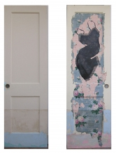 Marty Baird Installations paint, ink, wallpaper on door