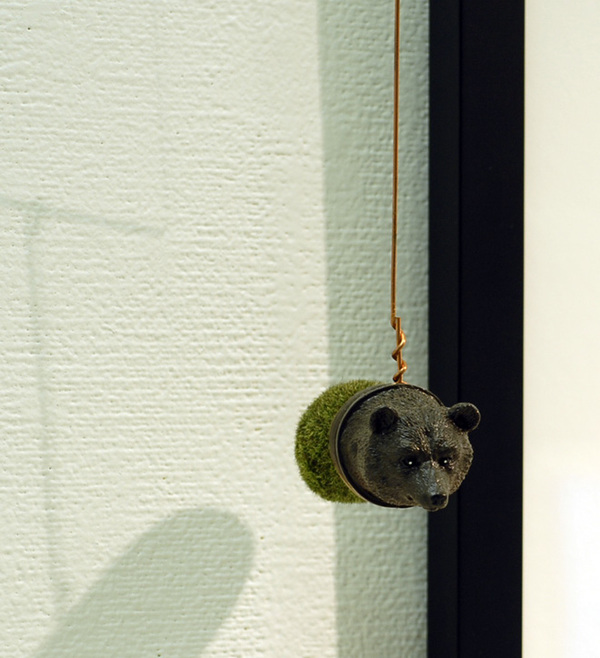 Marty Epp-Carter Sculpture plastic bear head, faux moss rock, copper wire