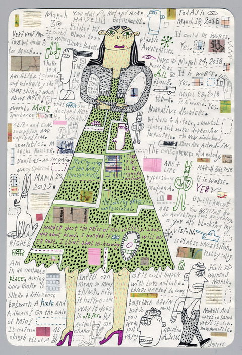 Mary Jones Prints and Drawings pencil, marker, collage