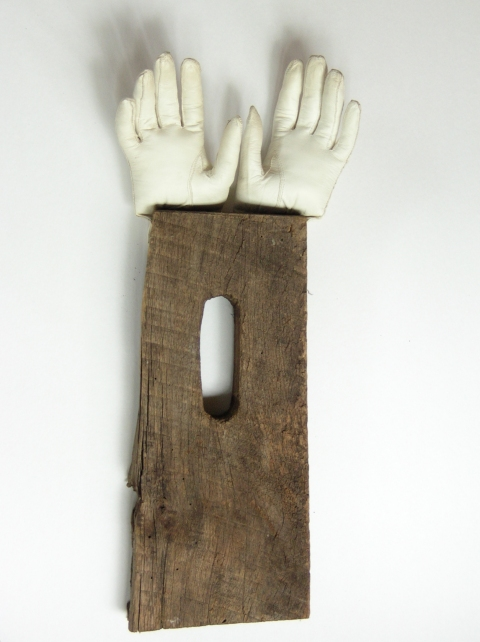 MARY LEARY sculpture leather, antique wood tool