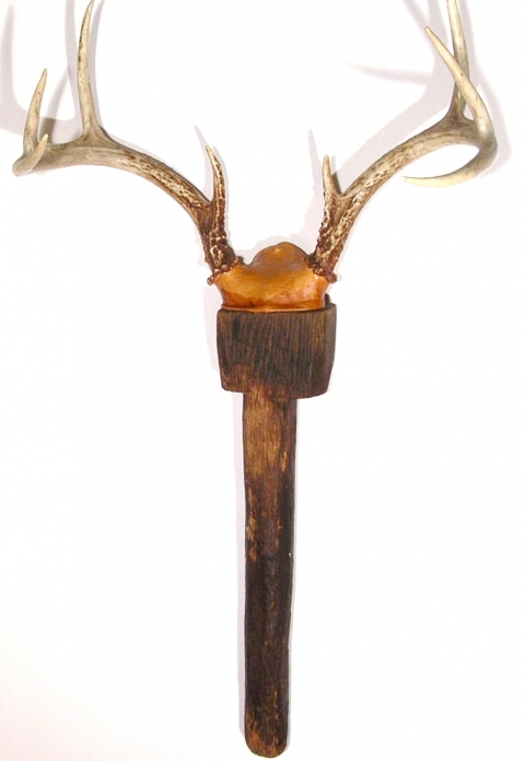MARY LEARY sculpture antique tool, antlers