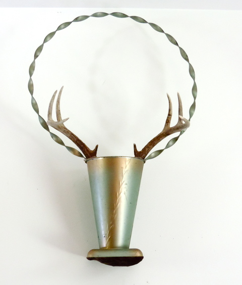 MARY LEARY sculpture metal vase, deer head, velvet