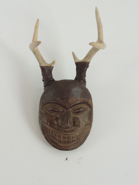 MARY LEARY sculpture wood mask, leather, antlers