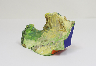 Sculpture oil, acrylic and flashe on white gypsum cement