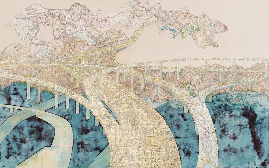 Matthew Cusick Map Works Inlaid maps, acrylic on panel