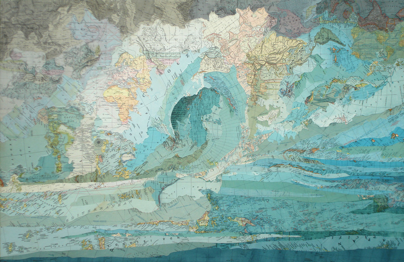 Matthew Cusick Map Works Inlaid maps and ink on panel