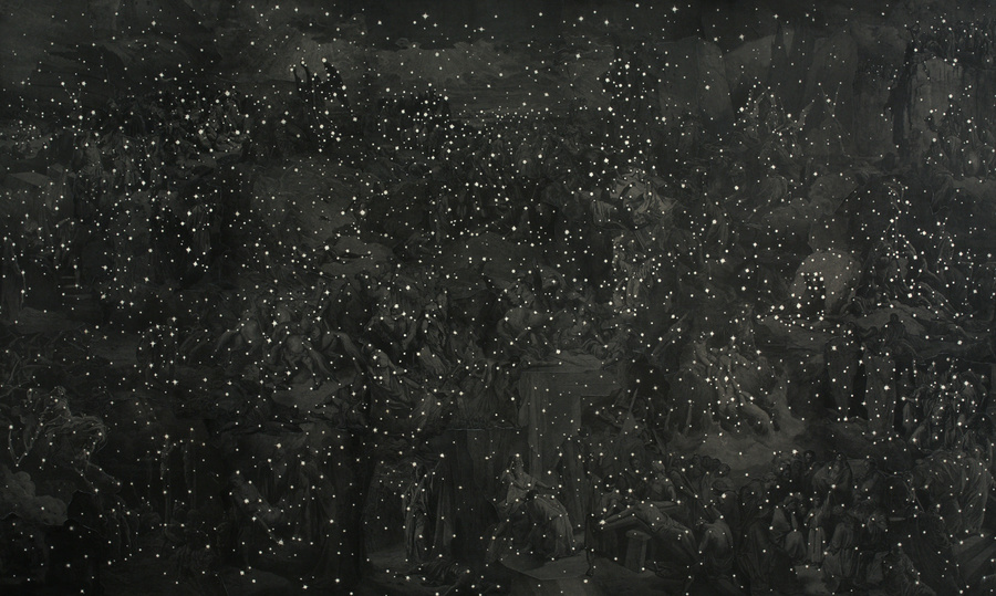 Matthew Cusick Constellations Gustave Doré Bible Engravings, sumi Ink, chalk on panel.