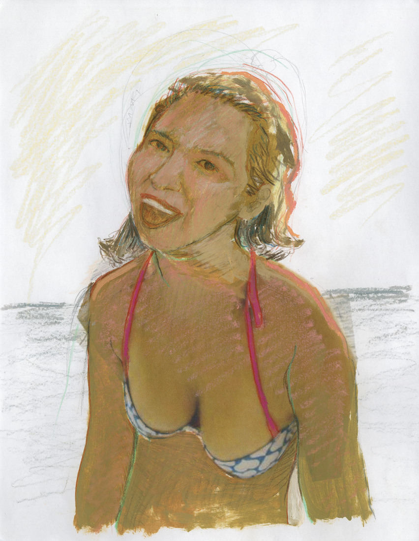 Portrait Works on Paper Woman in a Heart Bikini (Chloe)