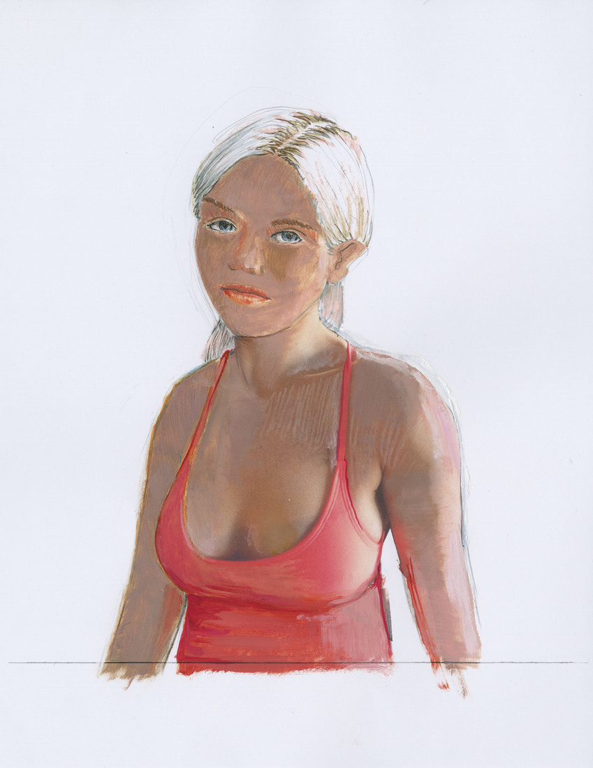 Portrait Works on Paper Woman in a Hot Pink Top