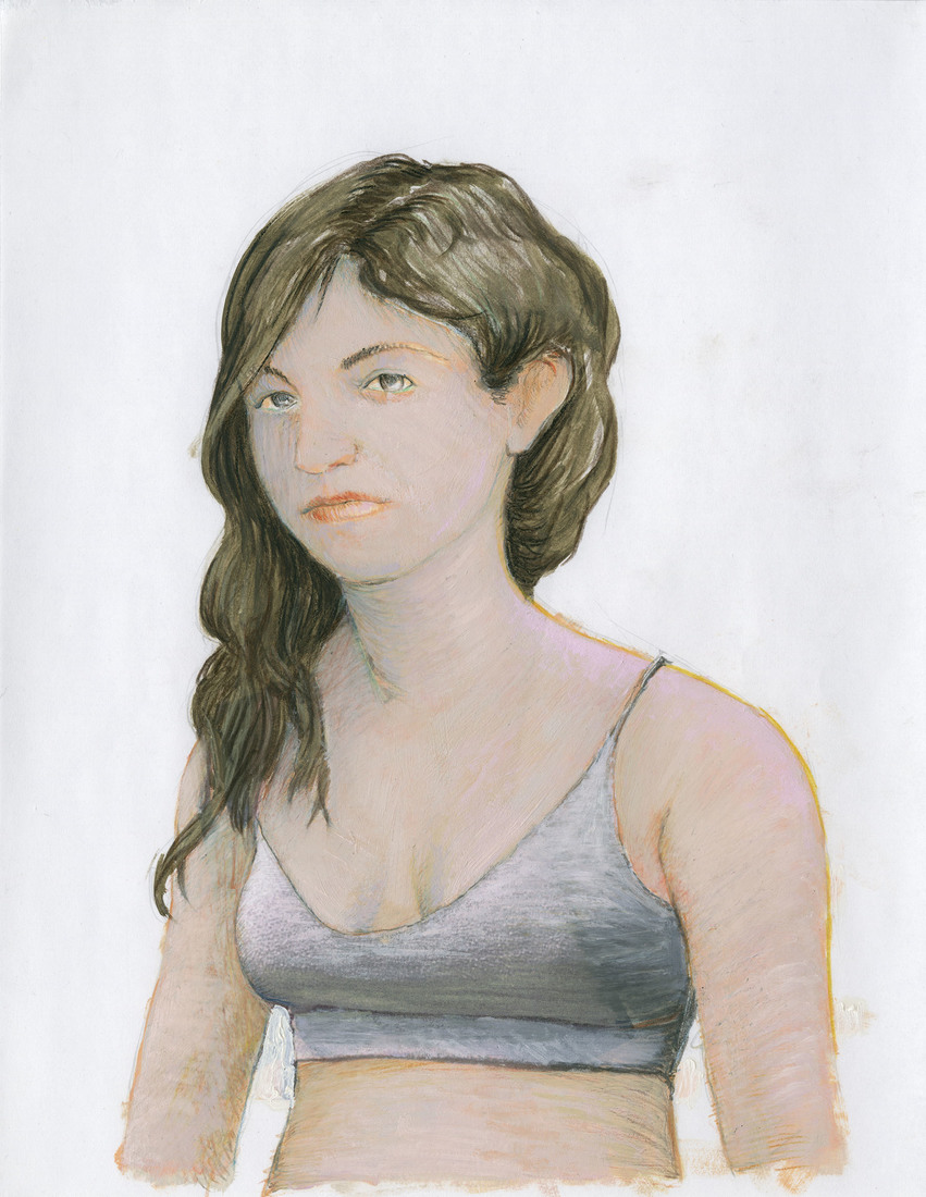 Portrait Works on Paper Woman in a Jersey Top