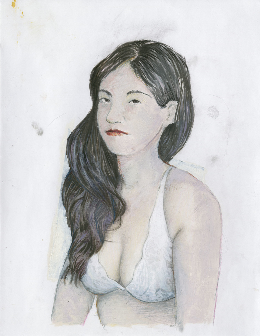 Portrait Works on Paper Woman in a White Lace Bra