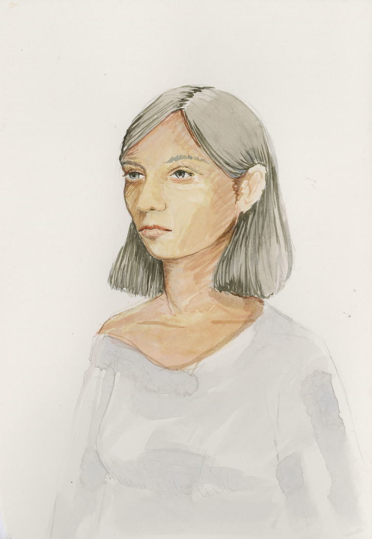 Works on Paper Woman in a White Shirt