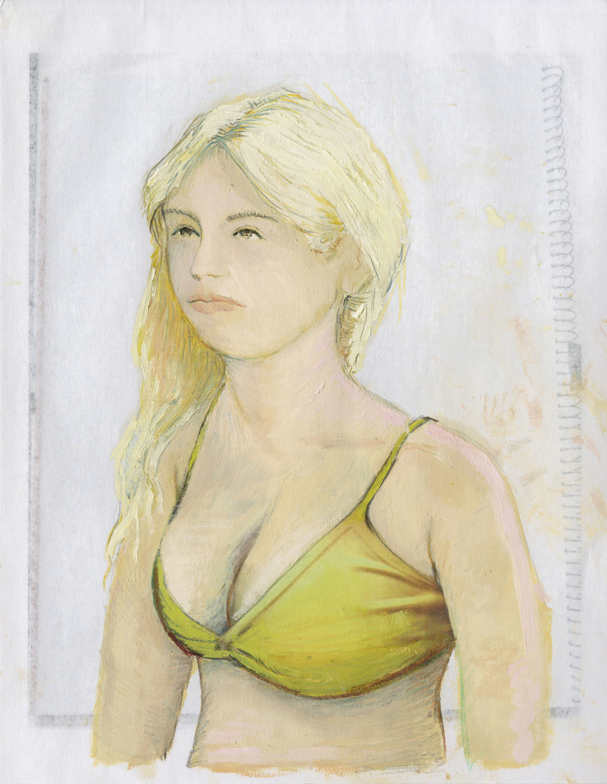 Portrait Works on Paper Woman in a Yellow Top