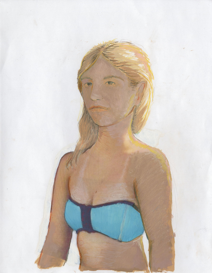 Portrait Works on Paper Woman in a Blue Bikini
