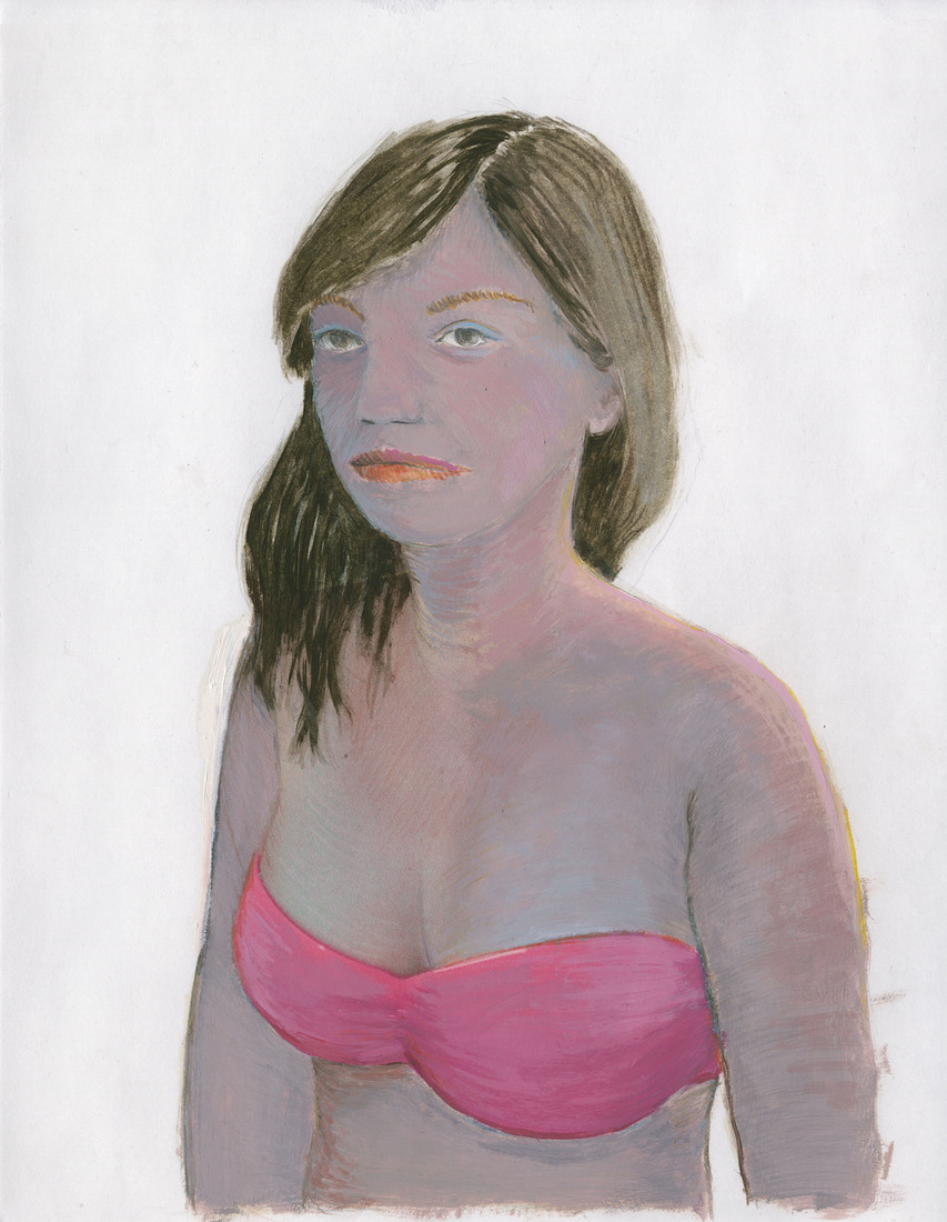 Portrait Works on Paper Woman in a Hot Pink Bikini