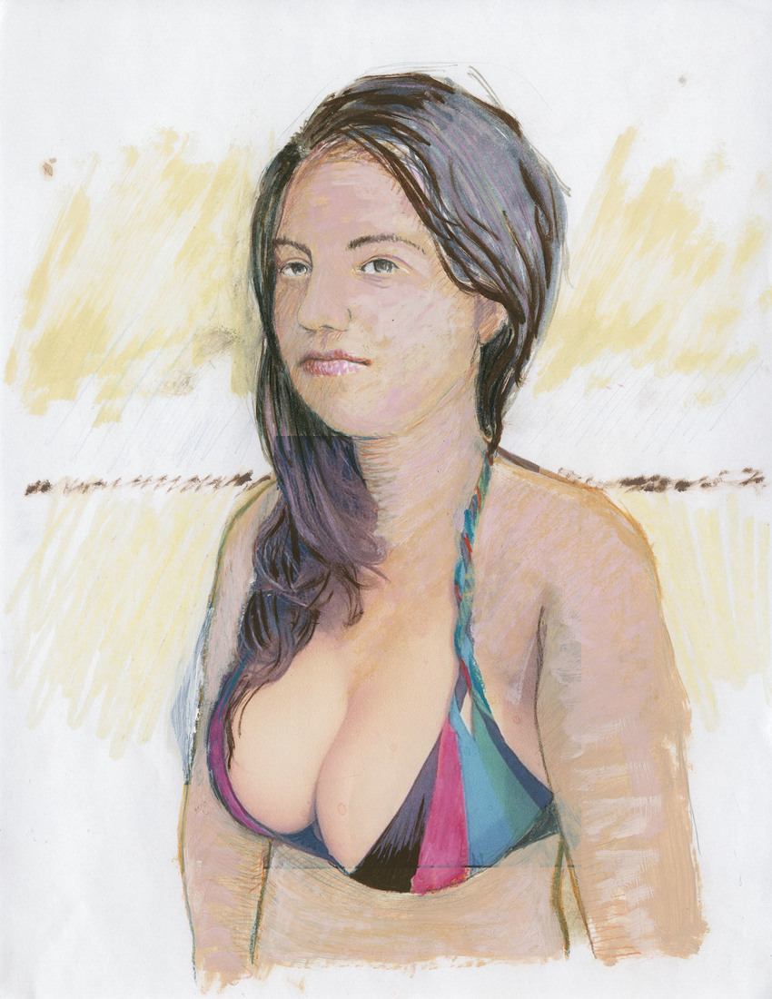 Portrait Works on Paper Woman with Large Breasts
