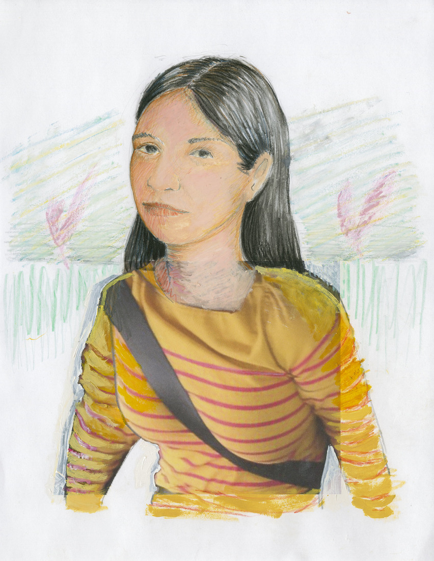 Portrait Works on Paper Woman in Stripes with a Seatbelt
