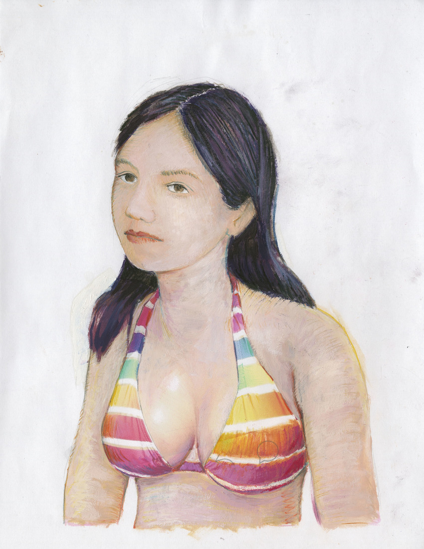 Portrait Works on Paper Woman in a Rainbow Bikini