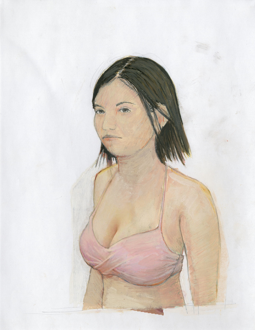 Portrait Works on Paper Woman in a Pink Bikini