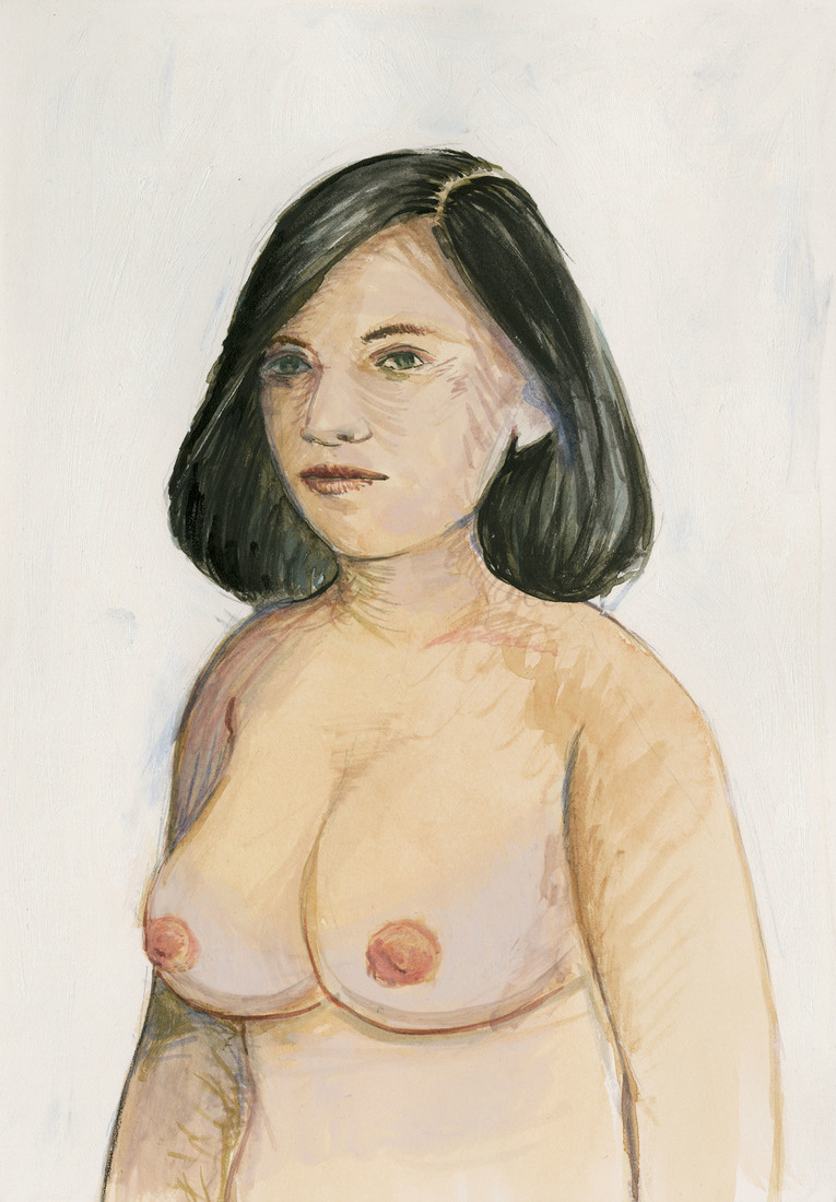 Portrait Works on Paper Woman with Round Breasts
