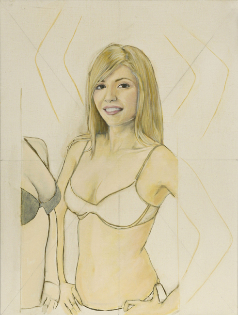 Paintings Smiling Blonde Modeling Underwear With Arms and a Bust