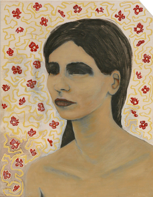 Paintings Woman with Darkened Eye Sockets and Red Flowers