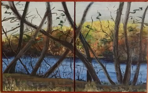 MAUREEN NOLAN Paintings and Drawings oil on 2 canvas panels
