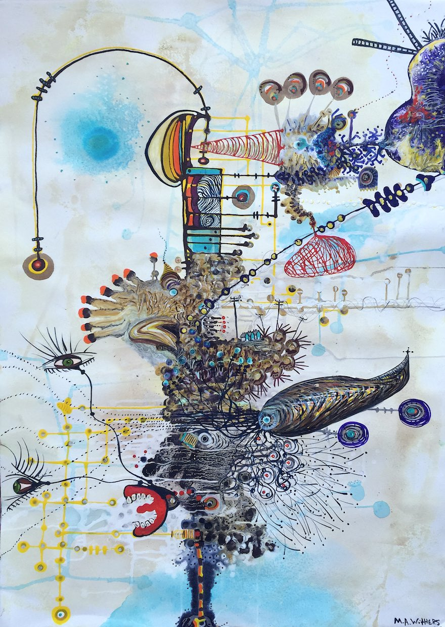 Margaret Ann Withers :: Curious Landscapes Electric::Current::Amp flashe, watercolor, gouache, ink on paper
