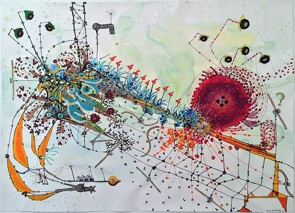 Margaret Ann Withers :: Curious Landscapes Electric::Current::Amp watercolor, gouache, ink,  pigment on paper