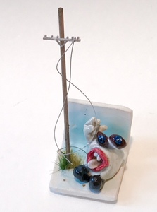 Past Work (sold) ceramic, glaze and enamel, wood, wire