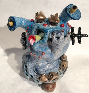 Margaret Ann Withers :: Curious Landscapes Ceramic Sculptures hand-built ceramic with various glazes and enamel