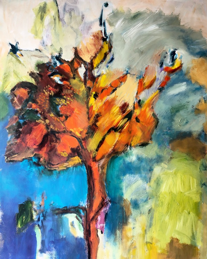 Large works on canvas A tree