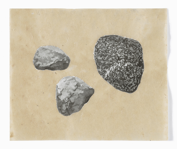 Meg Alexander estabrook rocks India ink, acrylic gesso, absorbent ground on Nepal paper