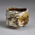 Guinomi Stoneware, red art slip, shino glaze, natural ash galze