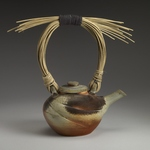 Pouring Vessels Stoneware, natural ash glaze, reed