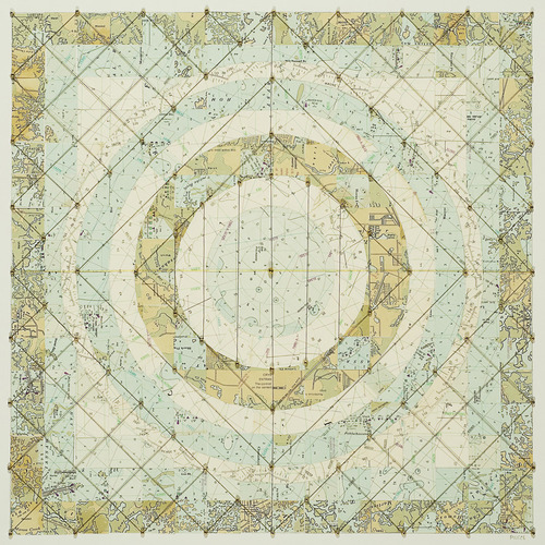 Meg Pierce Maps + Stitch navigation charts, sewn thread, beads on board