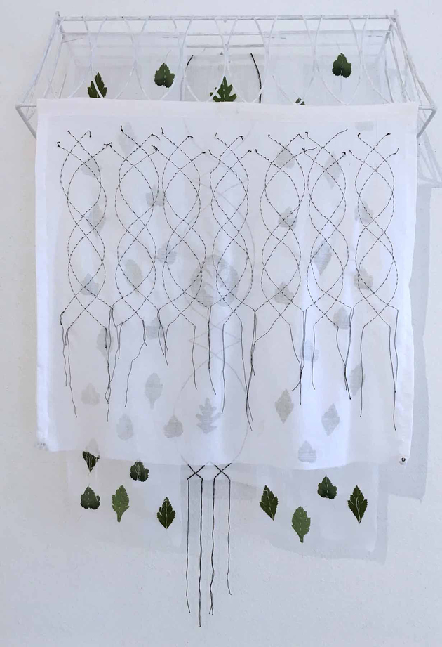 Meg Pierce Stitch + Layered Hangings 2018 Organza, hand stitched, silk leaves, found wire