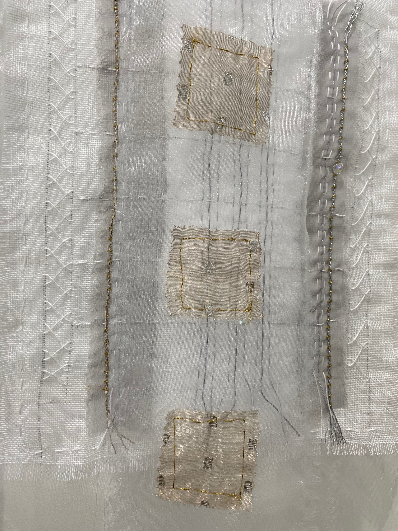 Meg Pierce Recent  2020 organza, metallic fabric and thread, found wire