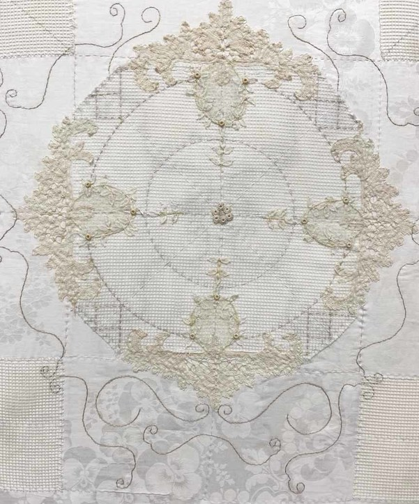 Meg Pierce Stitched Vintage Tablecloths hand stitching on damask, vintage lace , cotton mesh