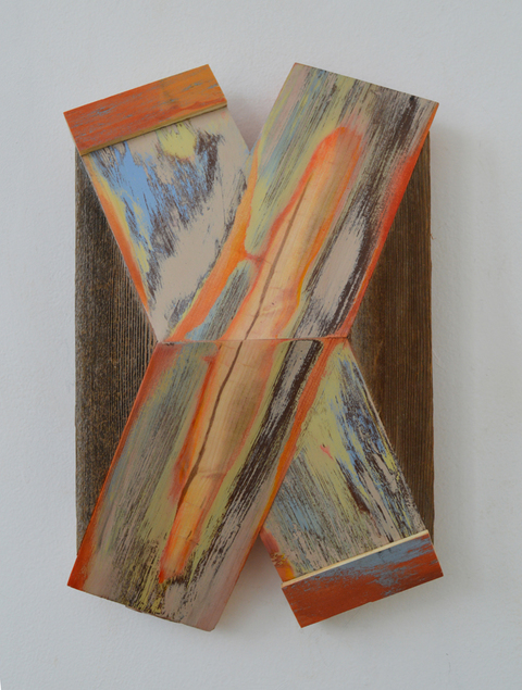 "Melinda Rosenberg ""X's"" aniline dyes and acrylic on pine and cedar"