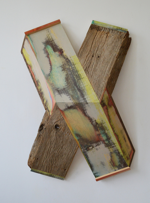 "Melinda Rosenberg ""X's"" aniline dye and paint on pine and barn siding"