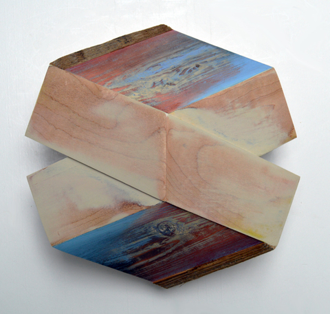 "Melinda Rosenberg ""X's"" aniline dyes and paint on maple and pine"