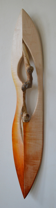 Melinda Rosenberg Boats aniline dyes on curly maple and sycamore branch with burls