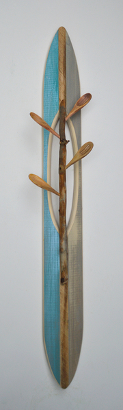 Melinda Rosenberg Boats aniline dyes and acrylic on pine, stick and spoons