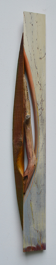 Melinda Rosenberg Boats driftwood and aniline dyes and paint on cedar and pine